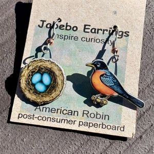 Unique Robin Bird and Nest Dangle Earrings